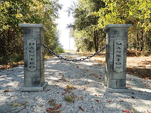 Evil Soul Studios Haunted Mansion Cemetery Column Pair Halloween Prop Black Chain Inc