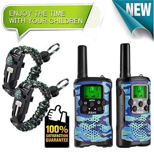 Walkie Talkies for Kids 22 Channel 2 Way Radio 3 Mile Long Range Ingenious Communication Gadget Preventing Myopia Toys Best Birthday Gifts for 6 year old Girls Fit Outdoor Adventure Game (Blue camo)