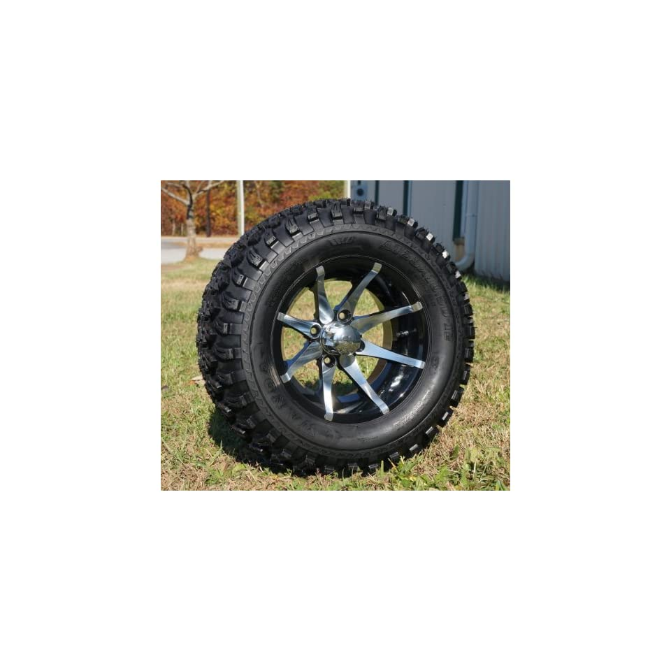 12 Golf Cart Wheels and Tires Combo Set of 4 Machined/Black w/ All Terrain Tires
