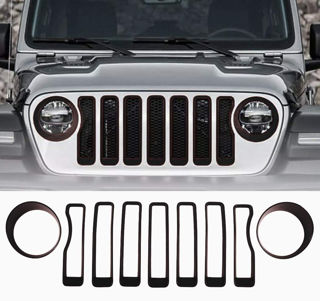 New Body Style VroomTec Automotive Jeep Wrangler Grill Accent Covers Made of Premium ABS Plastic Black Designed for 2018+ JL Sport Wranglers