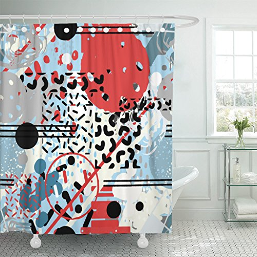 """Emvency 1960S Hipster Geometric Abstract Shapes Memphis Pop Trendy Style Random Chaotic 60S Waterproof Shower Curtain Curtains Extra Long 72""""X78"""" Decorative Bathroom Odorless Eco Friendly"""