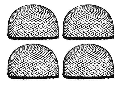 Mini Skater 4 Pcs Mesh Net Wig Cap Adjustable Dome Reusable Breathable Black Lightweight Stretchy Open End Hair Net for Wig Women Girls Long Short Hair (Black) ()