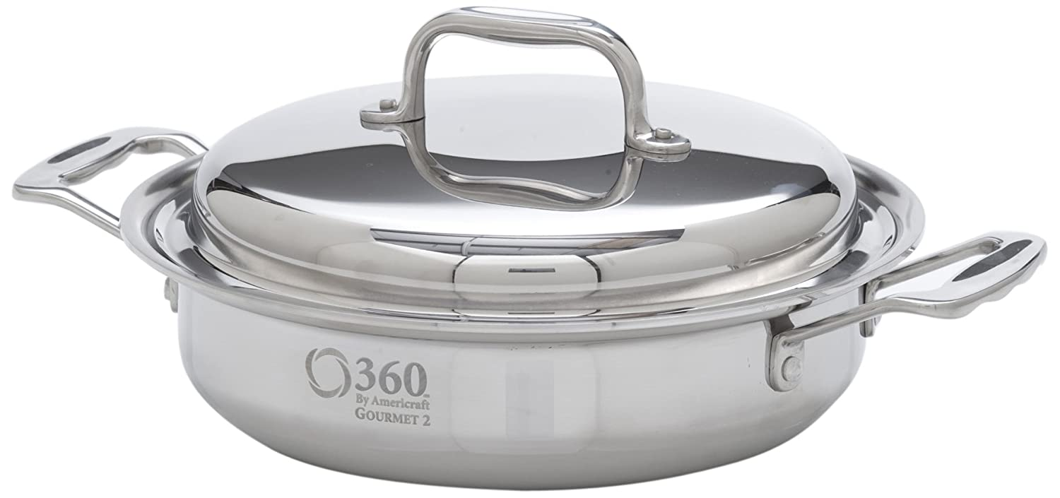 """360 Stainless Steel Cookware 2.3 Quart Saute Casserole Pan with Lid. (8.5"""" Skillet) American Made, Induction Cookware, Waterless Cookware, Dishwasher Safe, Oven Safe, Professional Grade"""