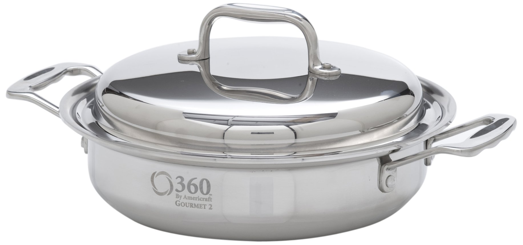 360 Cookware Stainless Steel Casserole with Cover, 2.3-Quart