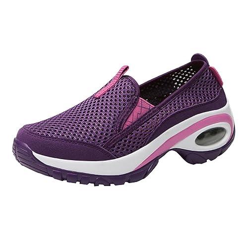 Calzado Deportivo De Mujer Zapatos para Caminar Zapatos De Camping Hueco Malla Vamp CojÍN De Aire Soles Color De Empalme Zapatillas Deportivas De Malla Al ...