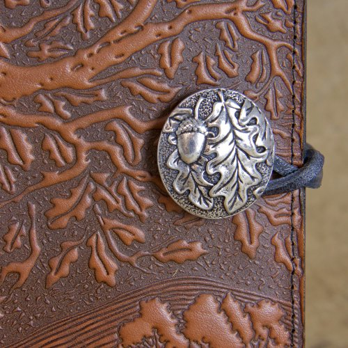 Genuine Leather Refillable Journal Cover + Hardbound Blank Insert - 6x9 Inches - Tree of Life, Saddle With Pewter Button - Made in the USA by Oberon Design by Oberon Design (Image #3)