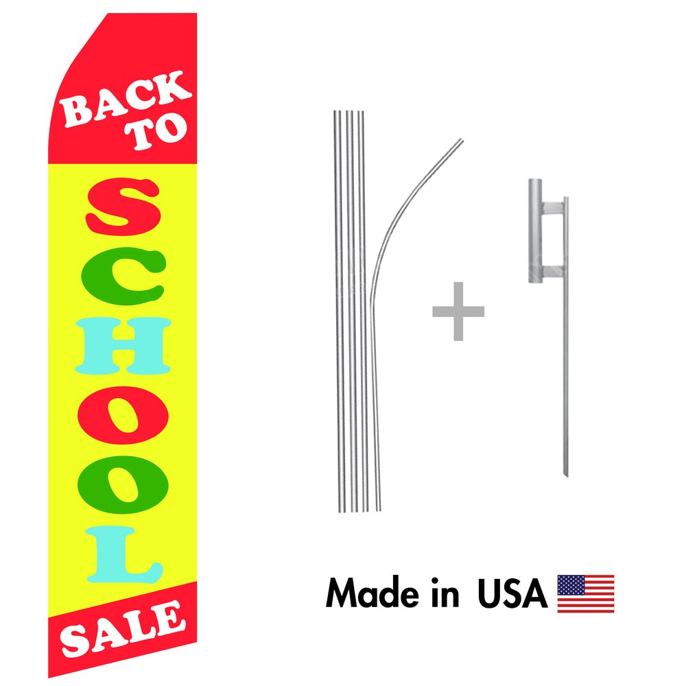 Back to School Sale Econo Flag   16ft Aluminum Advertising Swooper Flag Kit with Hardware