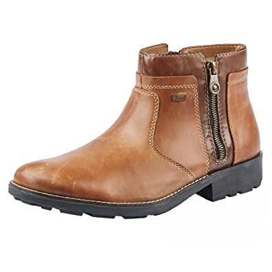 b0cd7c927a3 Rieker 36083-25 Mens Leather Warm Lined Zip Up Boots Brown 42 ...