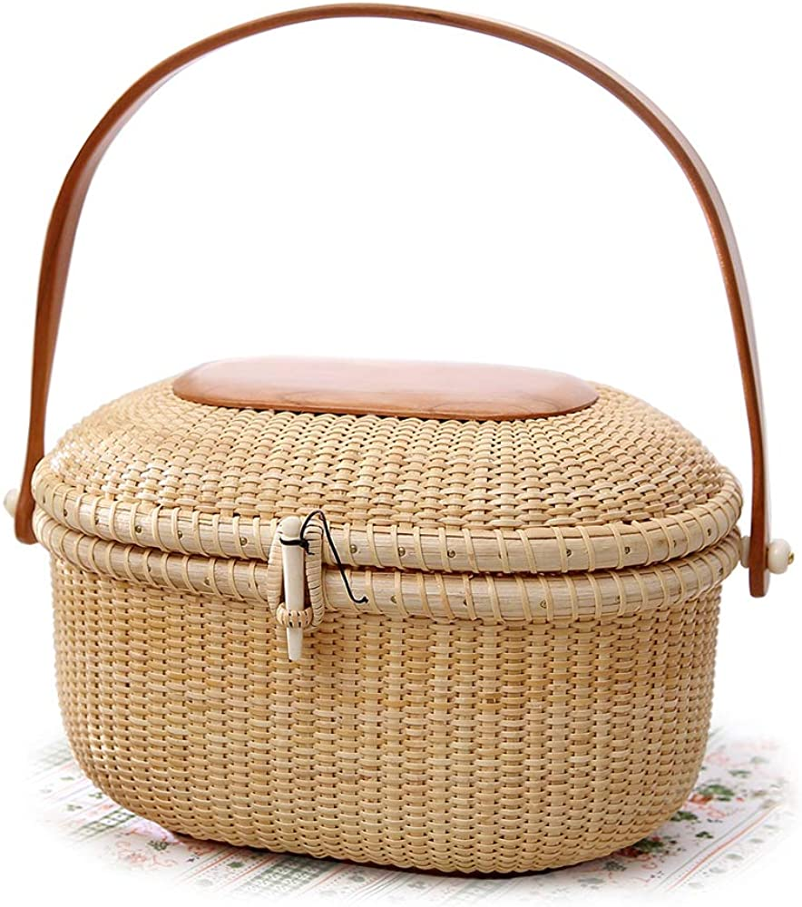 Tengtian Shopping basket Tote bag Nantucket Picnic Rattan Basket for Storage Handmade Style