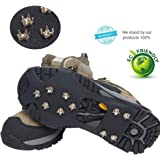 Ice Traction Cleats for Walking, Jogging, or Hiking on Snow and Ice - 20 Metal Ice Spikes Provide Stability Traction Grips Ice - 2 Pcs Anti-slip Ice Grips - Hiking Spikes - Snow Cleats