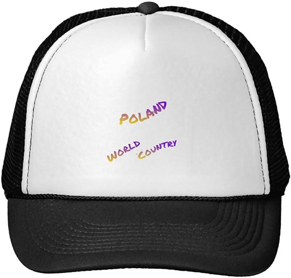 Funny Poland World Country Letter Art Color Trucker Hat Baseball Mesh Caps Black