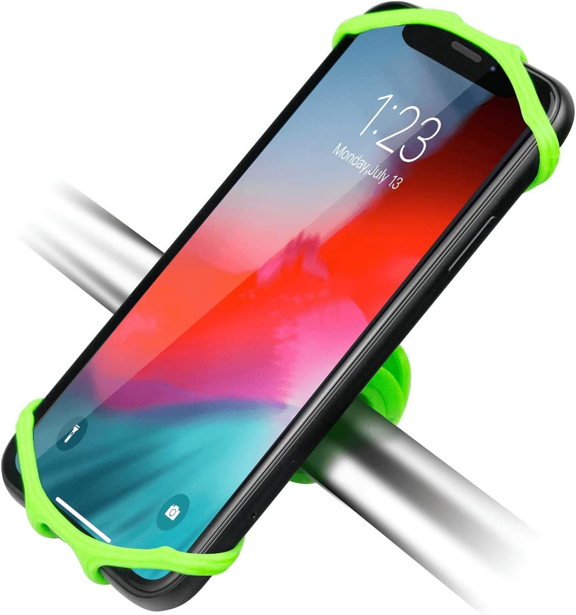 Newppon Bicycle Phone Mount Holder : 360° Rotation Stable Elastic Silicone Motorcycle Smartphone Holder Compatible iPhone 11 Pro Mini Max SE X Xs Xr Samsung Galaxy S20 S10 S10e GPS Unit ( Green )