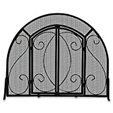 Cheap Black Wrought Iron Single-Panel Fireplace Screen with Doors