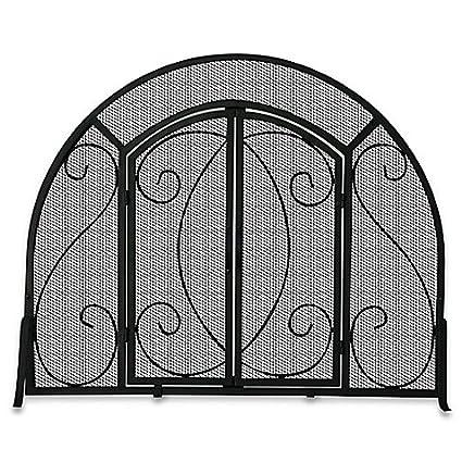 Amazon Com Black Wrought Iron Single Panel Fireplace Screen With