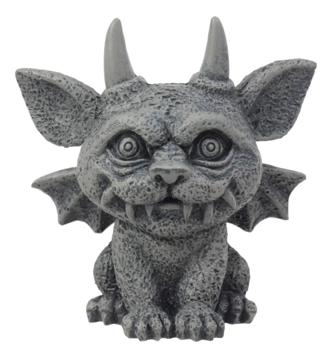 "Ebros Gothic Horned Bat Cat Gargoyle Bast Figurine Small Mythical Fantasy Decor Statue 3.25"" Tall As Talisman of Protection Fairy Garden Accessory DIY Renaissance Or Medieval Collectible"
