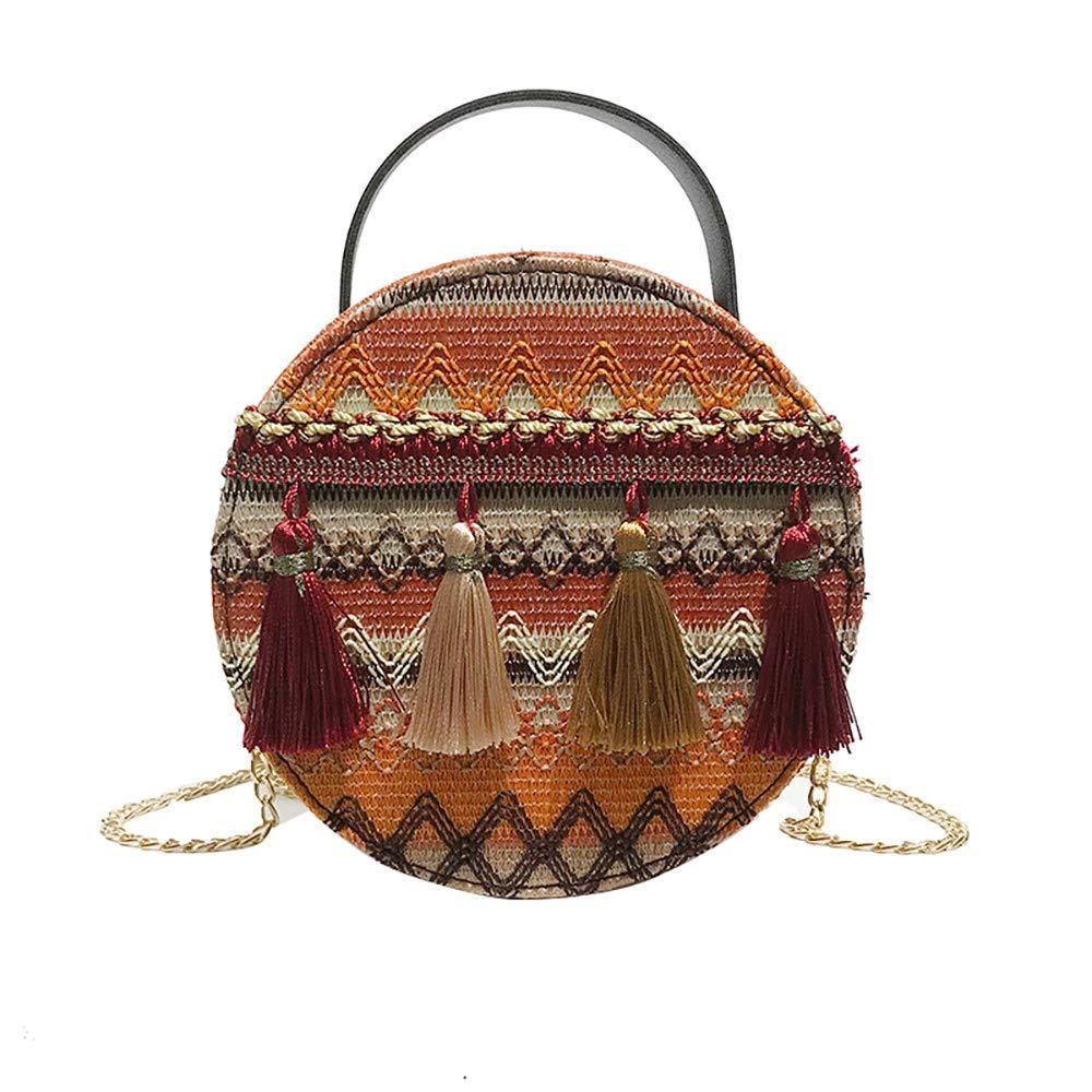 Blue ❤️ Sunbona Tassel Messenger Bag for Women National Wind Portable Chain Small Round Bag Packet Handbag Totes Shoulder Bags