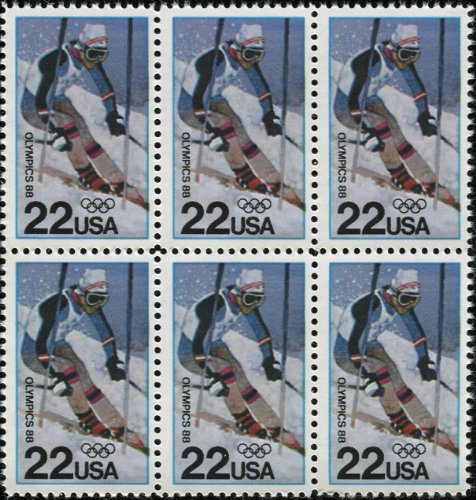 1988 WINTER OLYMPICS ~ CALGARY ALBERTA CANADA ~ ALPINE SKIING #2369 Block of 6 x 22 US Postage Stamps