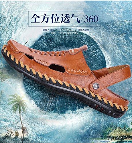 Männer Freizeit Sandalen Strand Schuh Atmungsaktiv Sandalen Lochschuhe Handbuch Naht Schuh .Gelb.US=10,UK=9.5,EU=44,CN=46