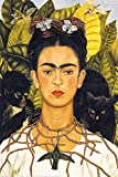 Frida Kahlo Poster - Portrait with Necklace and Hummingbird Traditional surrealismus and self-portraits were the peculiarity of the mexican paintress Frida Kahlo. a stylish and cost saving alternative to picture framesThe poster hangers are 2...