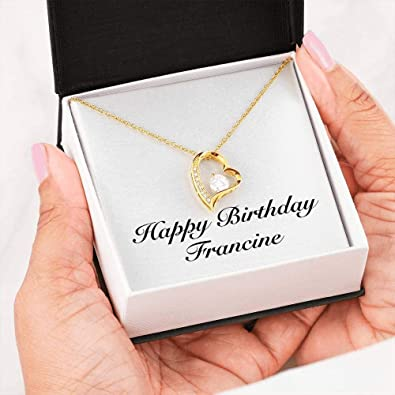 Infinity Heart Necklace 14k White Gold Finish Personalized Name Unique Gifts Store Happy Birthday Francine