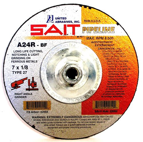 SAIT 22140 Type 27 5-Inch x 1/8-Inch x 5/8-11 Pipeline Long Life Specialty Grinding Wheels, 10-Pack