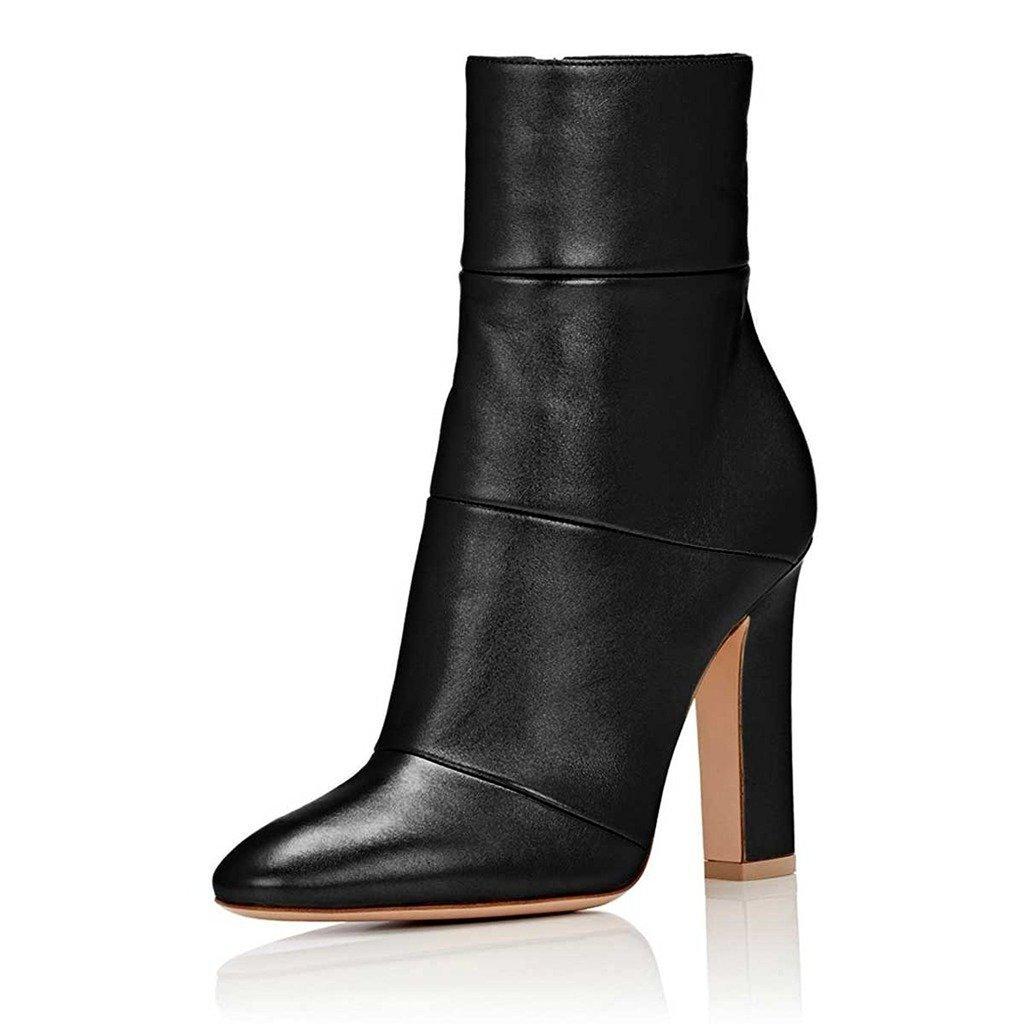 FSJ Women Retro Chunky High Heel Ankle Boots Pointed Toe Booties with Side Zipper Size 8 Black Matt