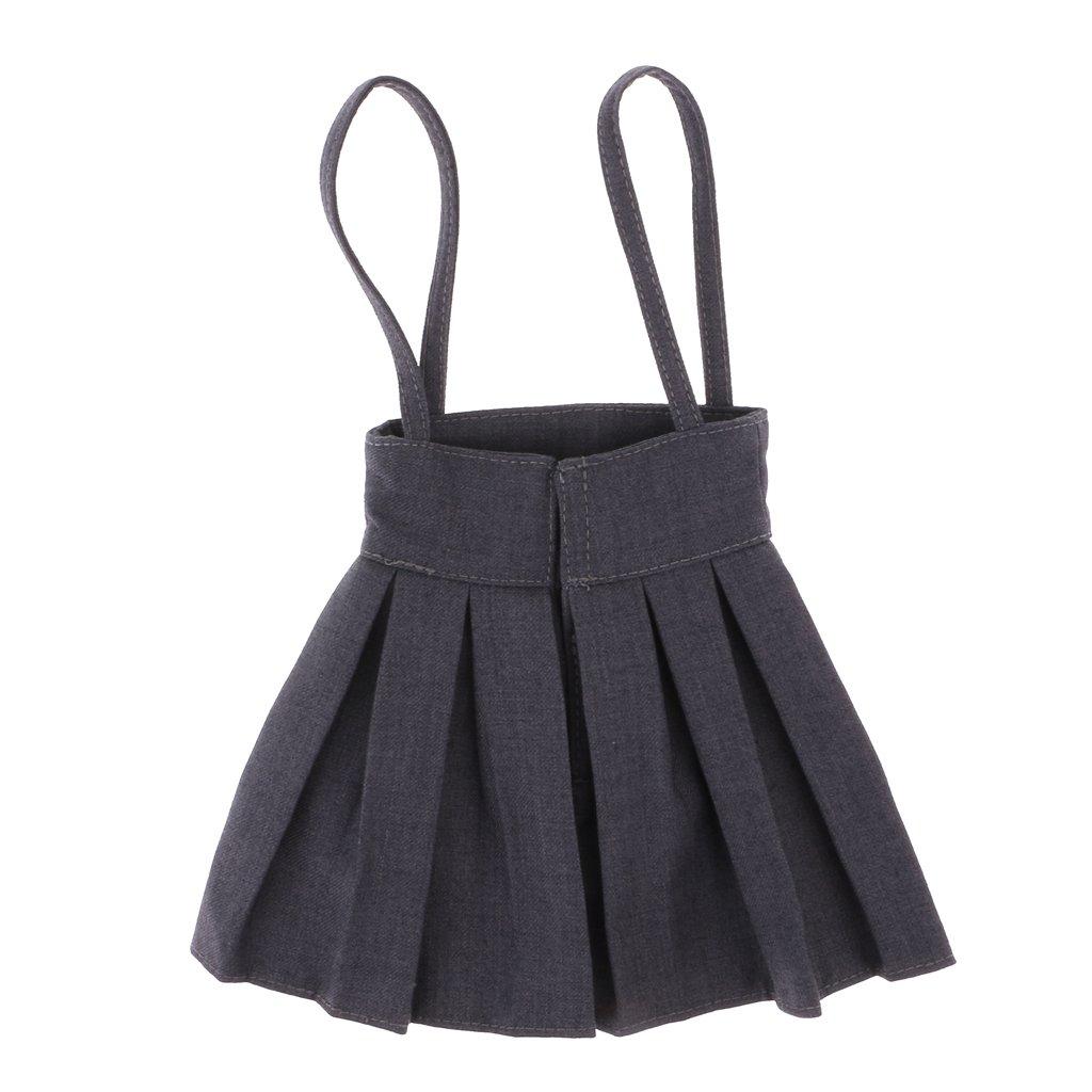 MonkeyJack 1/3 BJD Shoulder Strap Pleated Dress Mini Skirt for SD DD DOA LUTS Dolls Dress Up ACCS Smoky Grey