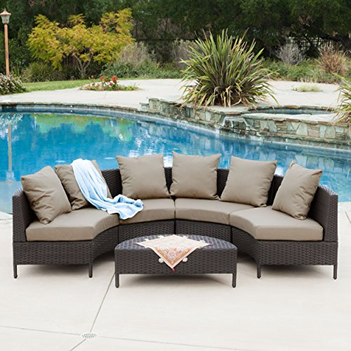 Venice Outdoor 5 PC Wicker Sofa Sectional Set (Outdoor Round Sectional Furniture)