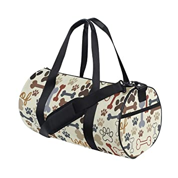 4311073134a0 Amazon.com | Dog Paw Prints Bones Travel Duffel Bag Sports Gym ...