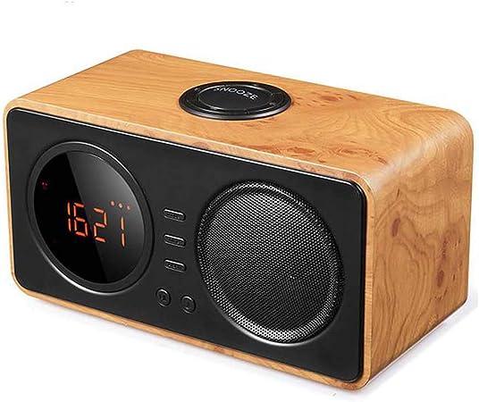 Radio réveil Bois vintage Carte TF Jeu AUX Radio FM
