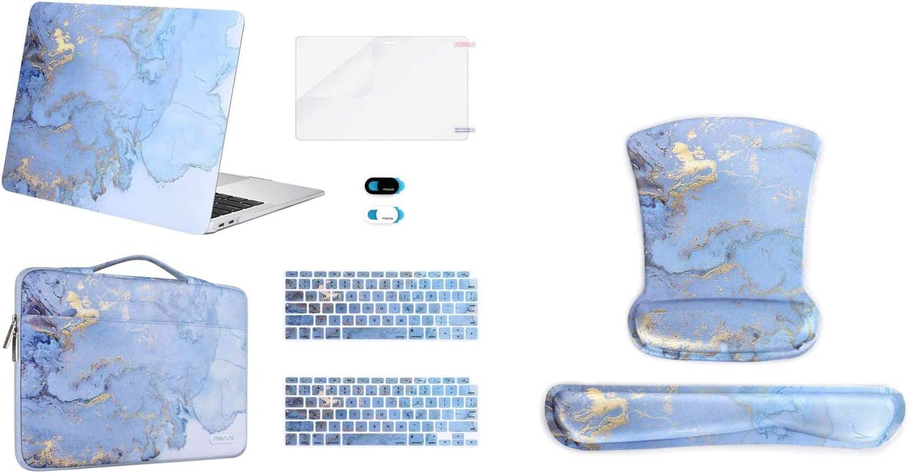 MOSISO MacBook Air 13 inch Case 2020-2018 Release A2179 A1932 Retina Plastic Watercolor Marble Hard Shell Case&Sleeve Bag & Ergonomic Mousepad Wrist Rest Support for Mouse Pad&Keyboard Set
