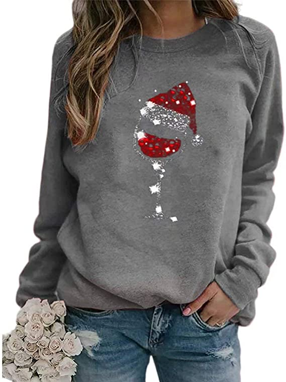 Christmas Pullover Sweatshirt for Women Red Wine Glass Graphic Long Sleeve Plus Size Blouse Casual Blouse Loose Tops