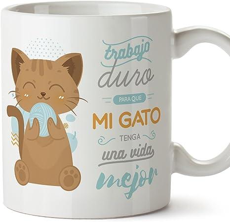 MUGFFINS Tazas Desayuno Originales graciosas para Amantes de los Gatos - Trabajo Duro para Que mi Gato Tenga una Vida Mejor - Regalo molón Gatos 350: Amazon.es: Hogar