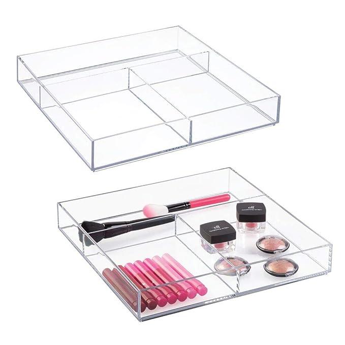 mDesign Juego de 2 organizadores para maquillaje – Cajas plásticas organizadoras para cosméticos, gomas para el pelo y productos de belleza – ...