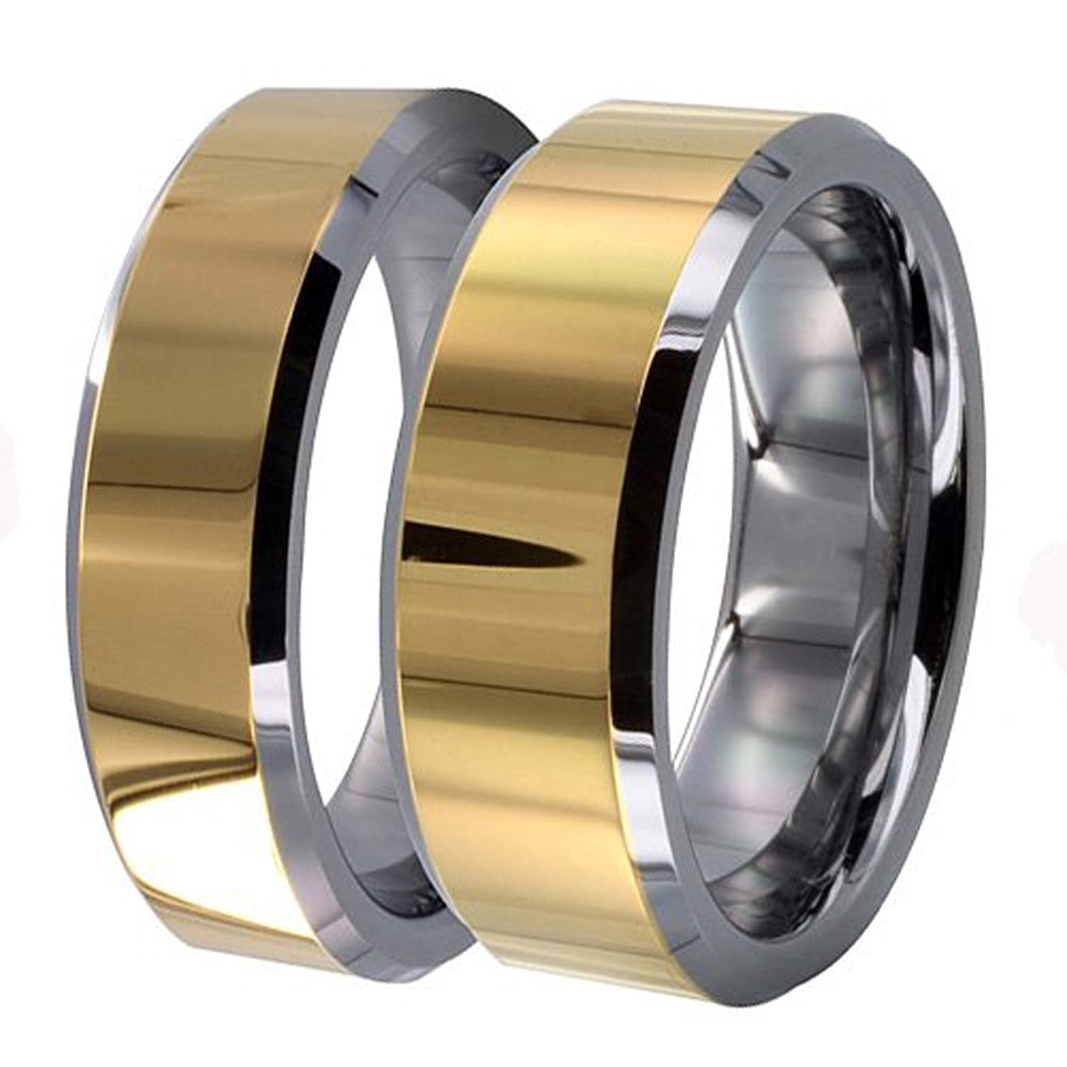 His & Her's 8MM/6MM Two Tone Gold Shiny Center & Beveled Edges Tungsten Carbide Wedding Band Ring Set