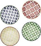 Paperproducts Design Belize Salad/Dessert Plate (Set of 4), 10 x 9 x 2.5'', Multicolor