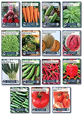 "Heirloom Vegetable Garden Seed Collection – Assortment of 15 Non-GMO, Easy Grow, Gardening Seeds ""Granny's Garden Collection"""