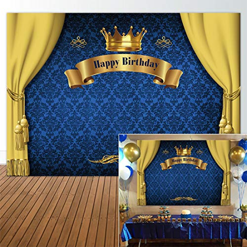 Allenjoy 7x5ft Royal Prince Backdrop King Gold Curtain Background Baby Shower Happy Birthday Party Cake Dessert Table Decor Decoation Banner Photo -