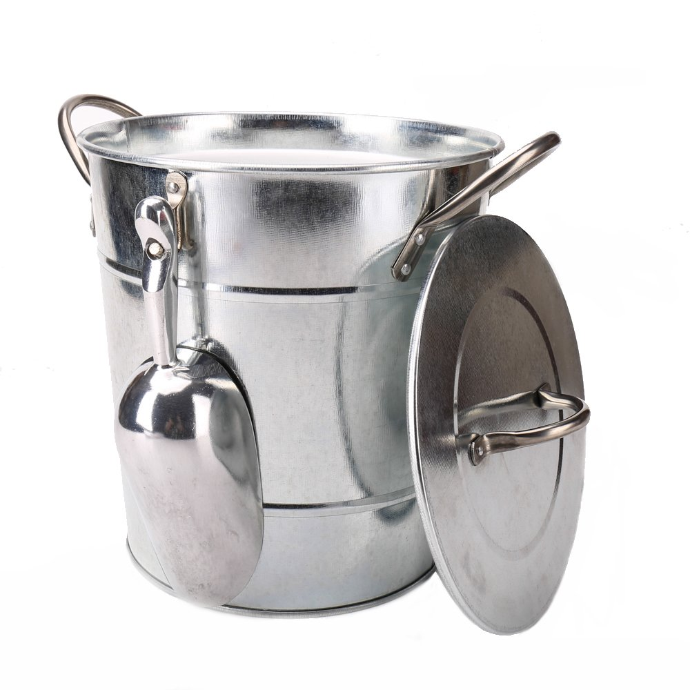 Hot Sale T586 4L Silver Metal Galvanized Double Walled Ice Bucket Set With Lid And Scoop by Home by Jackie Inc (Image #5)