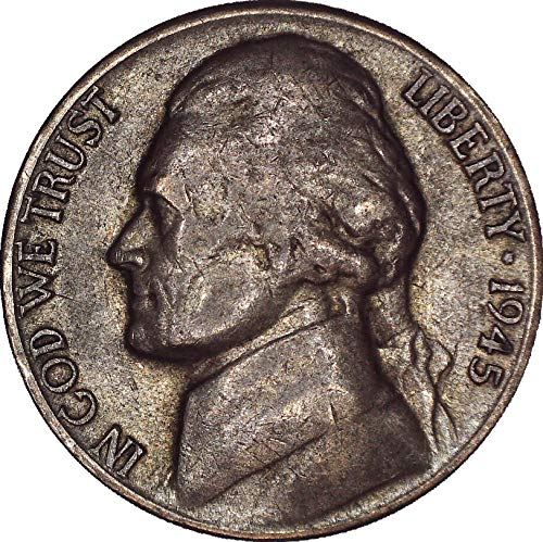 1945 S Jefferson Nickel Wartime Silver 5C About Uncirculated