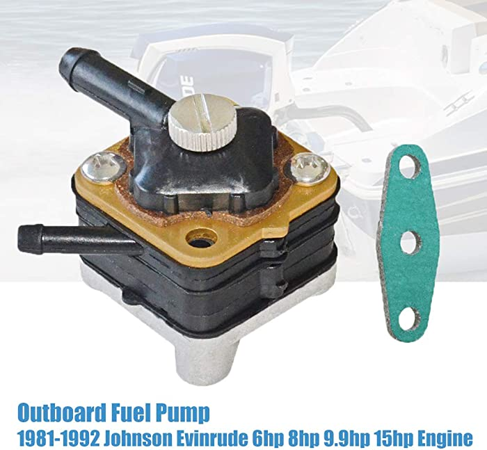 For 1981-1992 Johnson Evinrude Outboard Fuel Pump 6hp 8hp 9.9hp 15hp Engine Directly Replacement# 391638, 395091, 397839, 397274, 9-35350,18-7350 GELUOXI