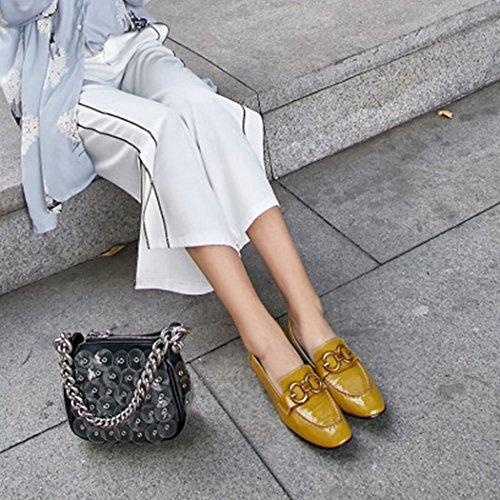 piatte scarpe fibbia vera scarpe GAOLIXIA mocassini lavoro casual Giallo scarpe donna pelle da Mocassini moda in U4w4pfq0v