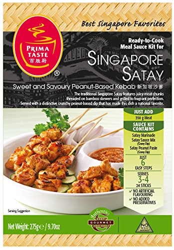 Prima Taste Singapore Kebab Satay Sauce Kit, 9.7-Ounce Boxes (Pack of 4)