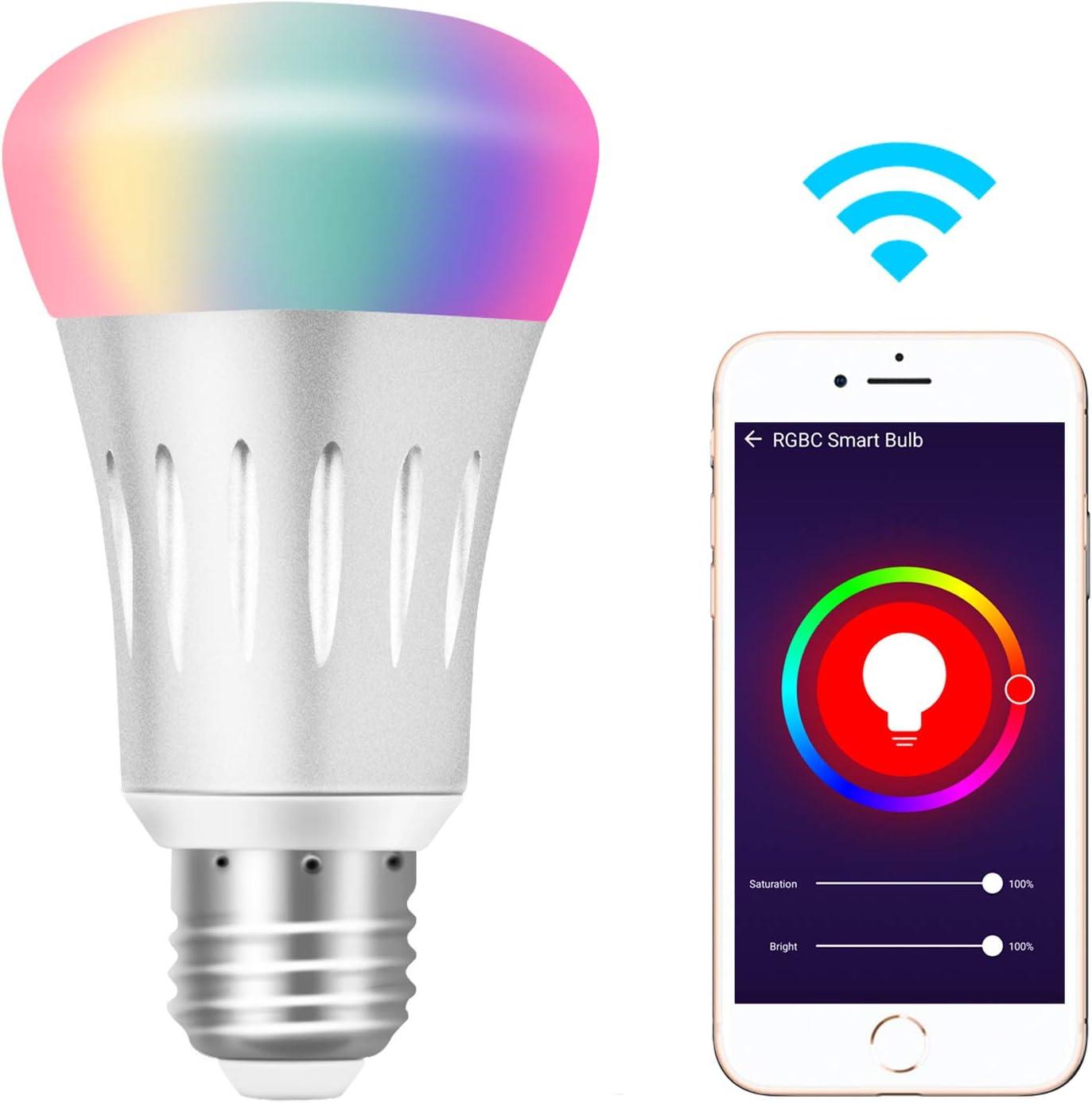 Bombilla Inteligente de Lámpara Alexa Wlan LED [E27, 7W] RGB Luz Regulable, Control de Voz con Alexa y Google Home, Lámpara Wifi con App Control Remoto Función del Temporizador Cambio de Color: