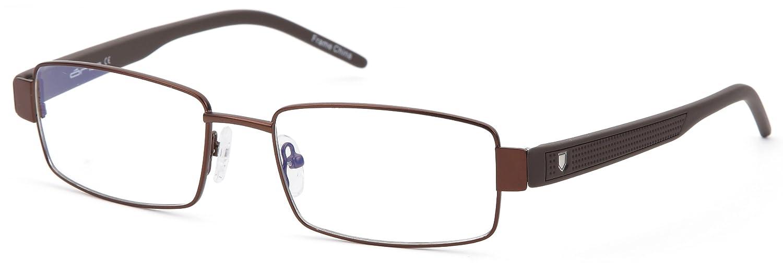 Amazon.com: Mens Rectangular Glasses Frames Brown Prescription ...
