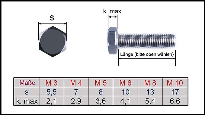 Edelstahl A2 - DIN 933 - M6x65 Sechskantschrauben 5 St/ück D/´s Items/® Sechskant-Schrauben V2A Maschinenschrauben mit Vollgewinde Gewindeschrauben