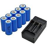 Ularma 10x 2000mAh 16340 Batterie Li-ion Rechargeable Pour LED Lampe de Poche + CR123A Chargeur