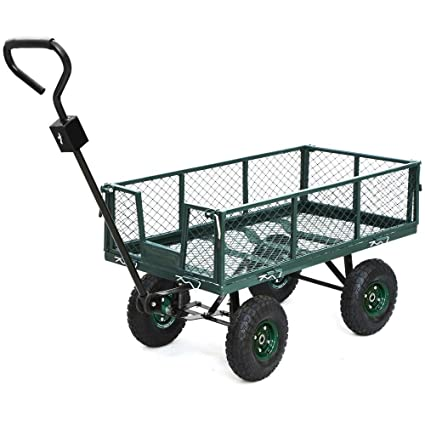 go2buy 800 lbs capacity heavy duty steel wagon garden utility cart with removable side wall - Garden Utility Cart