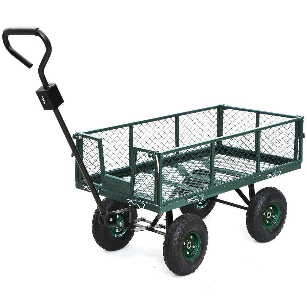 go2buy 800 lbs Capacity Heavy Duty Steel Wagon Garden Utility Cart with Removable Side-Wall on Rubber Wheels Tires, Green