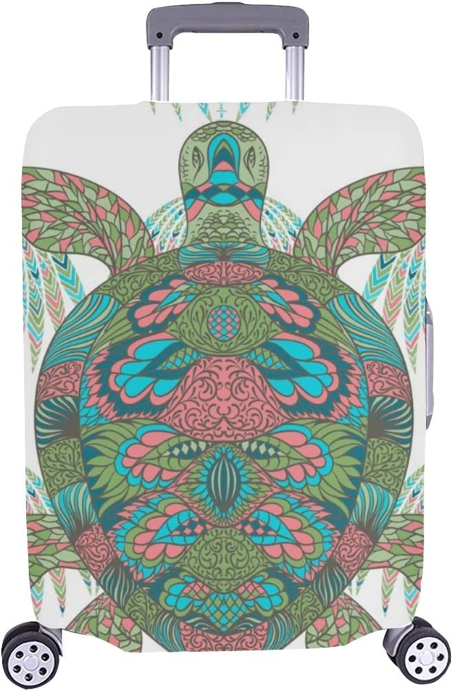 Tortuga Decorada Adornos Florales Vintage Patrón Colorido Spandex Maleta Trolley de Viaje Protector de Maleta Cubierta Protectora para 28.5 X 20.5 Pulgada